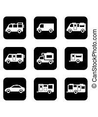 automobile, nero, set, campeggiatore, icone