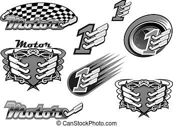 automobile, o, corsa motore, vettore, icone