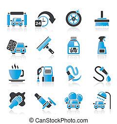 automobile, oggetti, lavare, icone