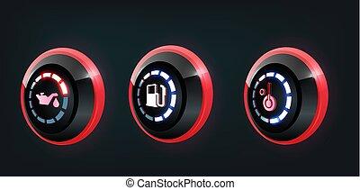 automobile, pannello, vettore, collezione, cruscotto, indicatori, indicatori, 3d, rosso, blu