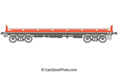 automobile, -, piattaforma, vettore, nolo, ferrovia, aperto
