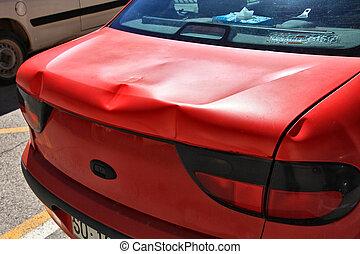 automobile, pieno, foglio, rosso, ammaccature