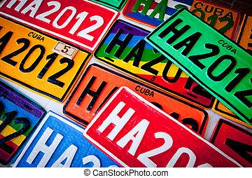 automobile, plaques