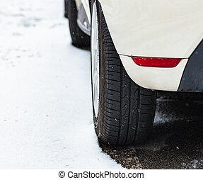 automobile, pneumatico, in, inverno, su, il, road.