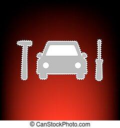 automobile, pneumatico, riparazione, servizio, segno., francobollo, o, vecchio, foto, stile, su, red-black, pendenza, fondo.