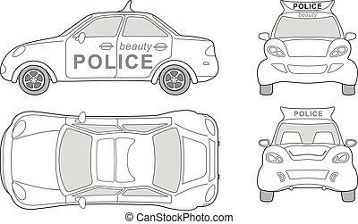 automobile, polizia, bellezza