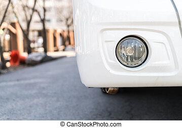 automobile, primo piano, luce testa