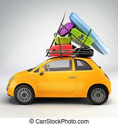 automobile, pronto, per, viaggiare