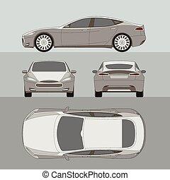automobile, quattro, tutto, vista, cima, lato, indietro, assicurazione, affitto, danno, condizione, relazione, forma, cianografia