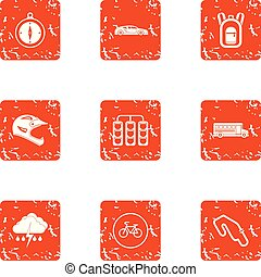 Automobile race icons set, grunge style