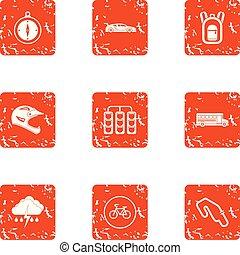 Automobile race icons set, grunge style