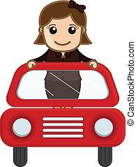 automobile, ragazza, vettore, rosso, felice
