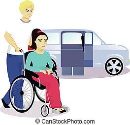 automobile, rampa sedia rotelle, ragazzo, fondo, ragazza, gli utenti disabili