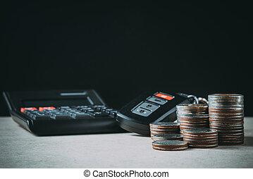 automobile, remoto, finanza, chiave, calcolatore, tavola legno, fila, monete, concetto, bancario