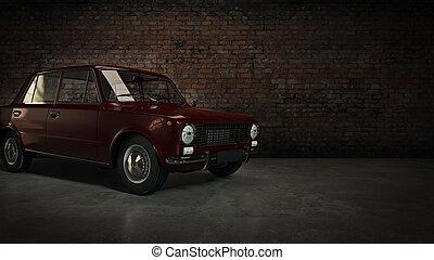 automobile, retro., 3d, interpretazione