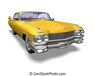 Automobile retro - 3D yellow retro automobile white...