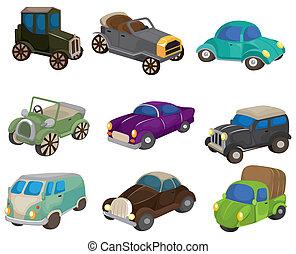 automobile, retro, cartone animato, icona