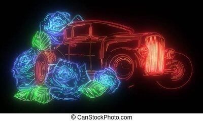 automobile, retro, tulips., conduite, bouquet