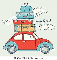 automobile, retro, viaggiare, caricato