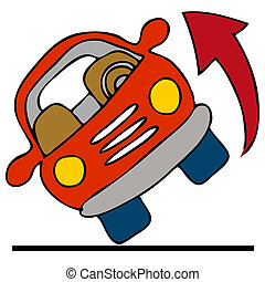 Automobile Rolling Over - An image of a car rolling over.