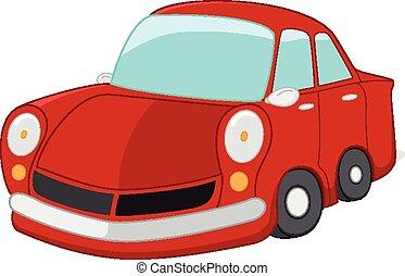 automobile, rosso, cartone animato