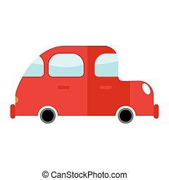 automobile, rosso, isolated., trasporto, bianco, fondo., auto, in, cartone animato, stile