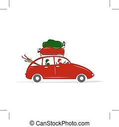automobile, rosso, viaggiare, famiglia, bagaglio