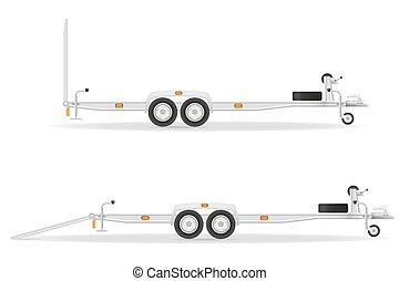 automobile, roulotte, per, trasporto, veicoli, vettore, illustrazione