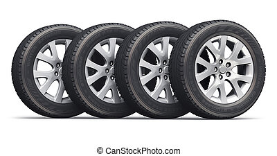 automobile, ruote, set