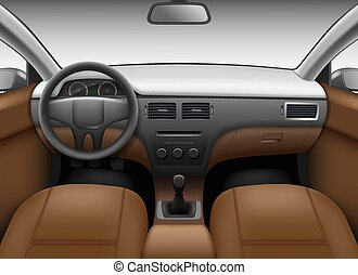 Automobile salon. Car interior template with leather seats and wheel colored dashboard mirror vector realistic picture