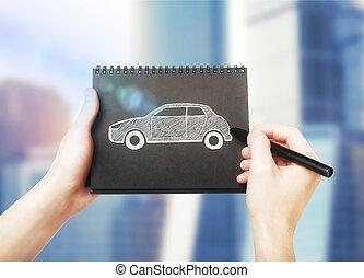 automobile, schizzo, blocco note