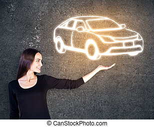 automobile, schizzo, holding donna