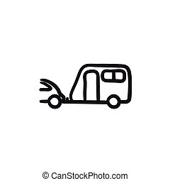 automobile, schizzo, icon., roulotte