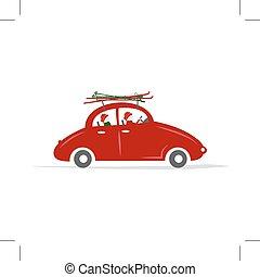 automobile, sci, viaggiare, famiglia, rosso