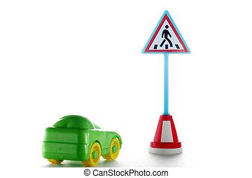 automobile, segno, pedone, dietro, verde, incrocio, strada