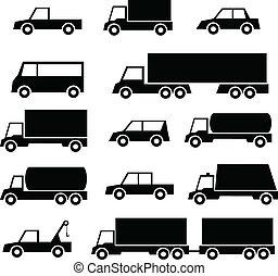 automobile, set, camion, icone