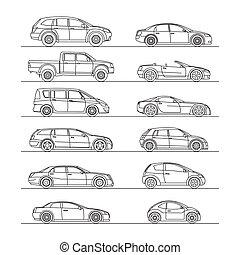 automobile, set, disegno, icona, contorno