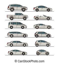 automobile, set, grigio, icona