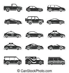 automobile, set, icone
