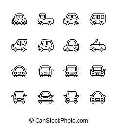 automobile, set., illustrazione, icona, vettore