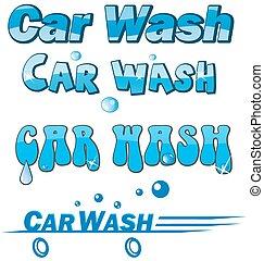 automobile, set, lavare, simbolo