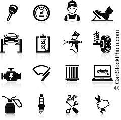 automobile, set2., servizio, icona