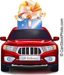automobile, sfondo bianco, isolato, regalo