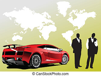 Automobile show with concept-car and men. Vector...