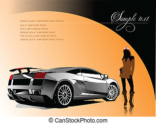 Automobile show with concept-car and girl. Vector illustration