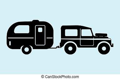 automobile, silhouette, campeggio