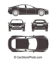 automobile, silhouette, disegnare, quattro, tutto, vista, cima, lato, indietro, assicurazione, affitto, danno, condizione, relazione, forma, cianografia