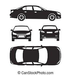 automobile, silhouette, icone, quattro, tutto, vista, cima, lato, indietro, assicurazione, affitto, danno, condizione, relazione, forma, cianografia