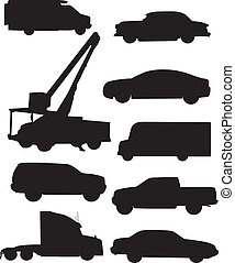 automobile, silhouettes