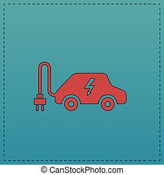 automobile, simbolo, computer, elettrico